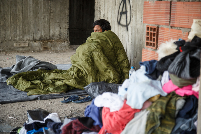 Homeless refugees in Greece